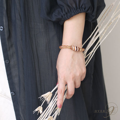 Sandalwood 〜瞑想からの目覚め〜 - 老礦-線天珠ブレスレット 【メール便不可】アンデシン