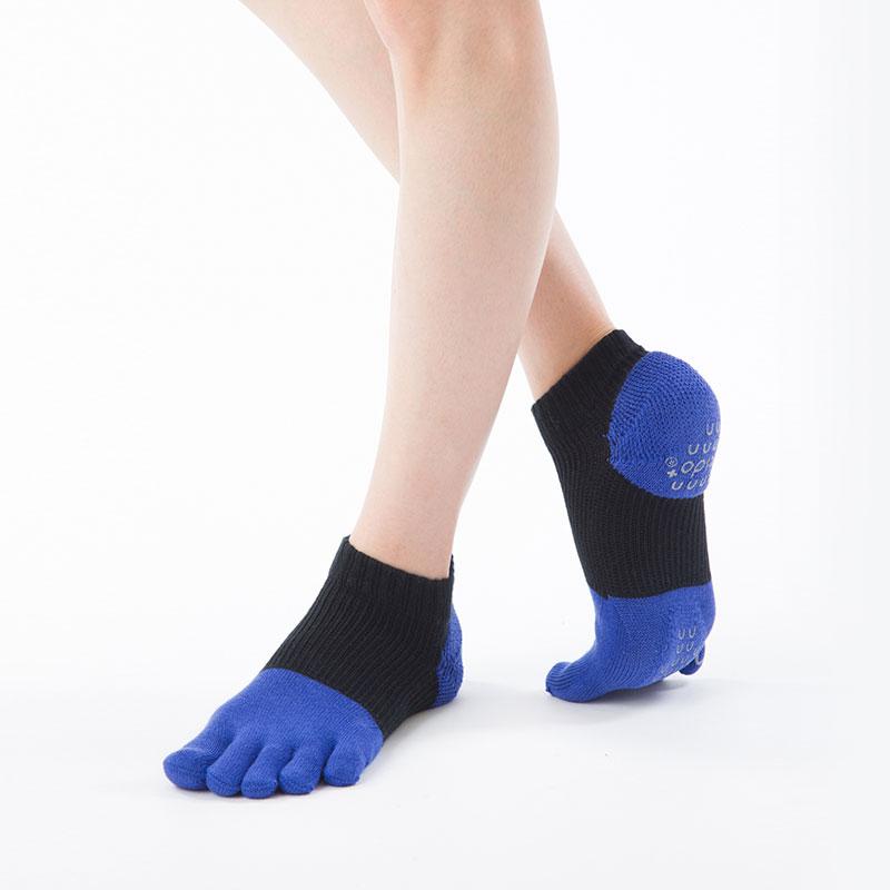 Foot arch バイカラーリブ   アンクル (Soft Support)   5本指ソックス