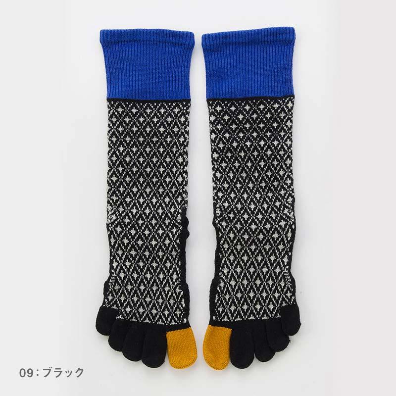 Foot arch バイヤスダイヤ   ハイクルー   5本指ソックス