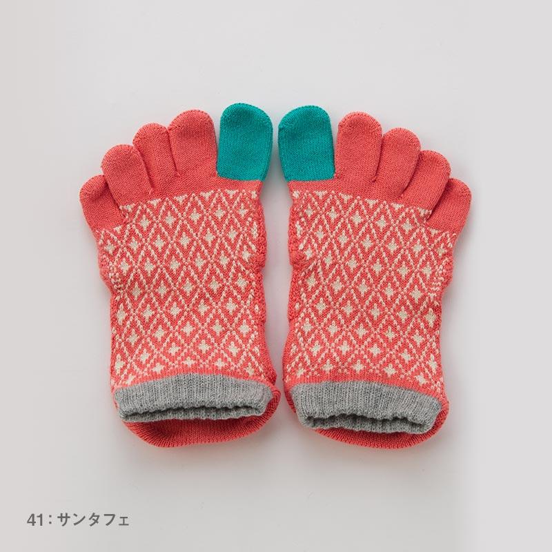 Foot arch バイヤスダイヤ   アンクル   5本指ソックス