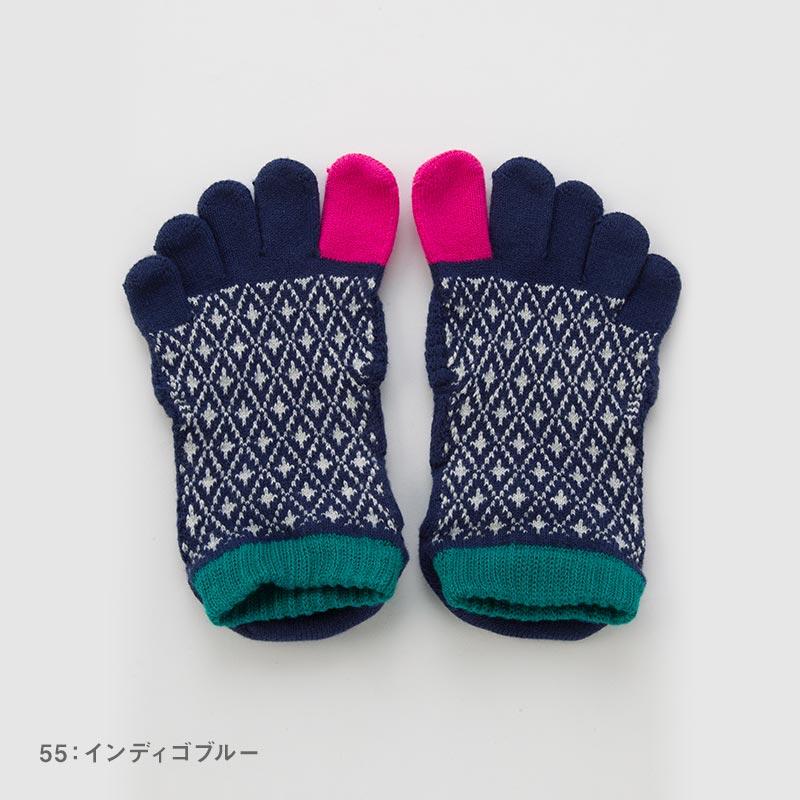 Foot arch バイヤスダイヤ   アンクル   5本指ソックス 23-25cm