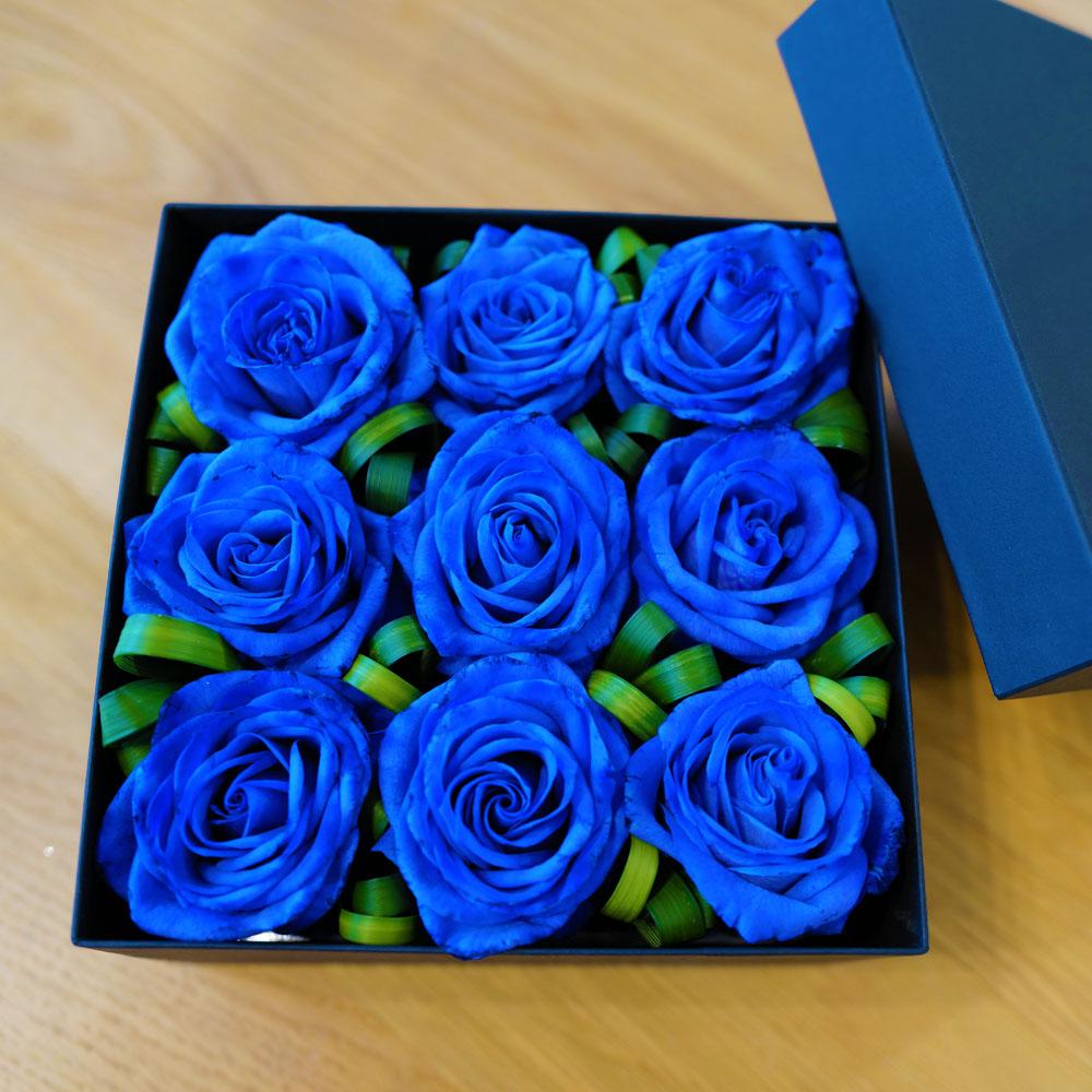 青いバラ9輪 スタイリッシュBOX