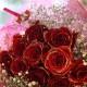 赤薔薇ゴールドラメ 10本の花束
