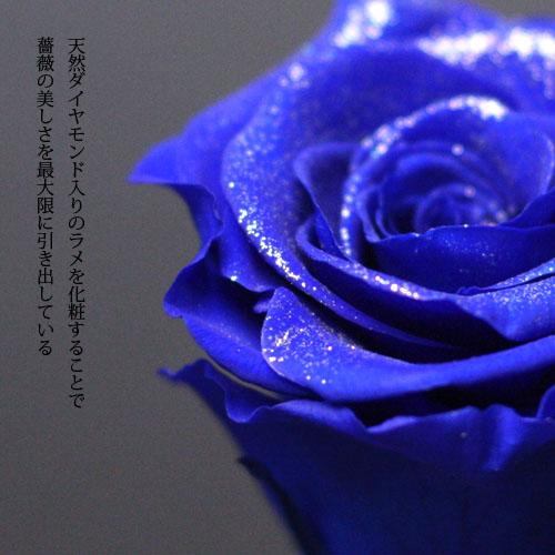 青いバラ プリザーブドフラワー ミニメッセージ白BOX