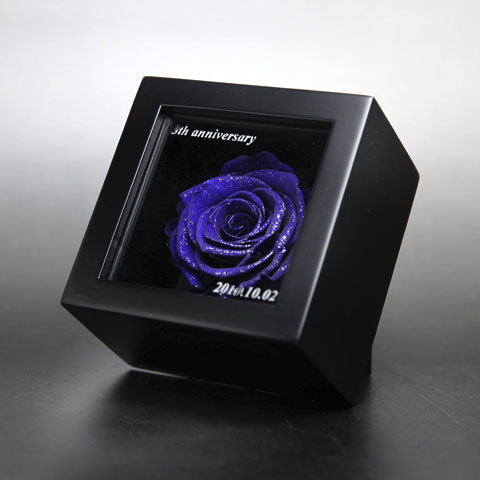 青いバラ プリザーブドフラワー ミニメッセージ黒BOX