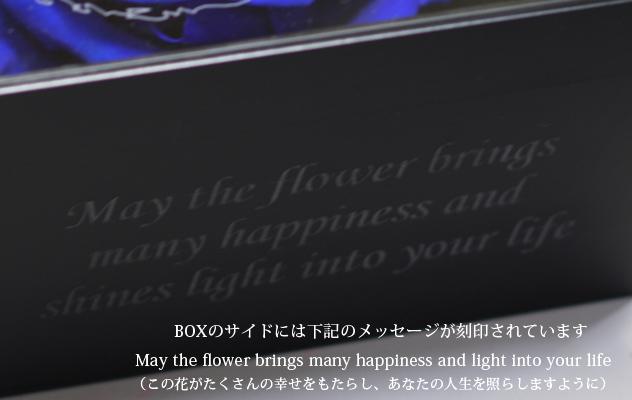 青いバラ プリザーブドフラワー メッセージ白BOX