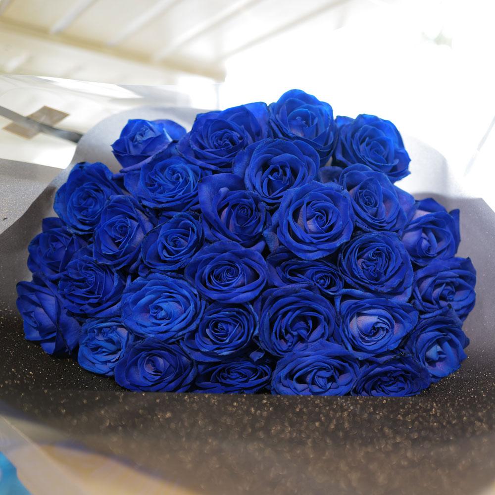 青いバラ 30本の花束