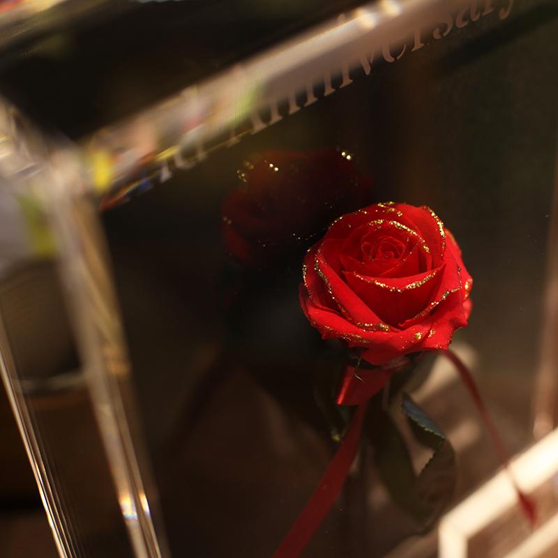 赤いバラ プリザーブドフラワー アクリルBOX I・CHI・RI・N