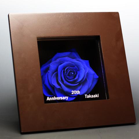 青いバラ プリザーブドフラワー メッセージフレーム