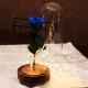 青いバラ プリザーブドフラワー 電飾LEDガラスドーム Tall