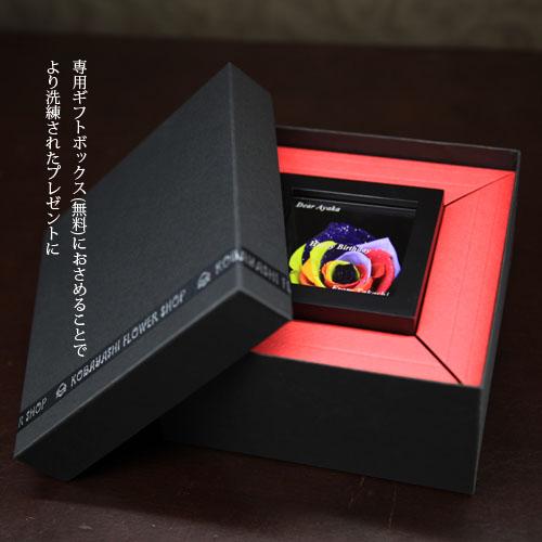 レインボーローズ プリザーブドフラワー ミニメッセージ黒BOX