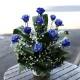 キラキラ青いバラ10本とキラキラかすみ草のアレンジメント