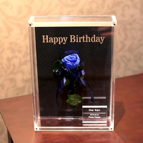 青いバラ プリザーブドフラワー アクリルBOX I・CHI・RI・N