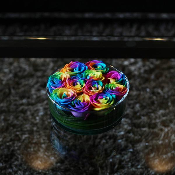 レインボーローズ circleglass アレンジメント(M)