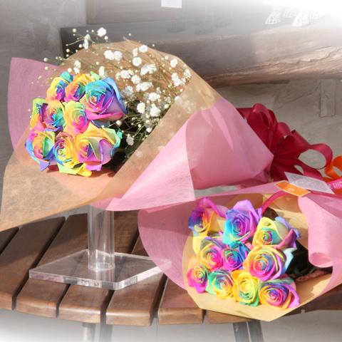 レインボーローズ 10本の花束