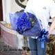 青いガーベラ20本とキラキラかすみ草の花束