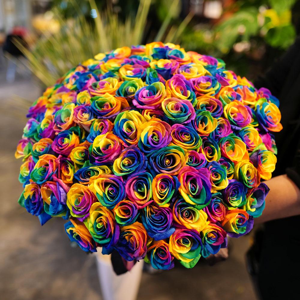 レインボーローズ 100本の花束
