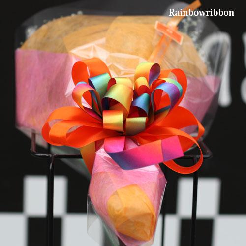 レインボーガーベラ20本の花束(キラキラかすみ草付き)