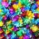 レインボーガーベラ100本の花束(キラキラかすみ草付き)