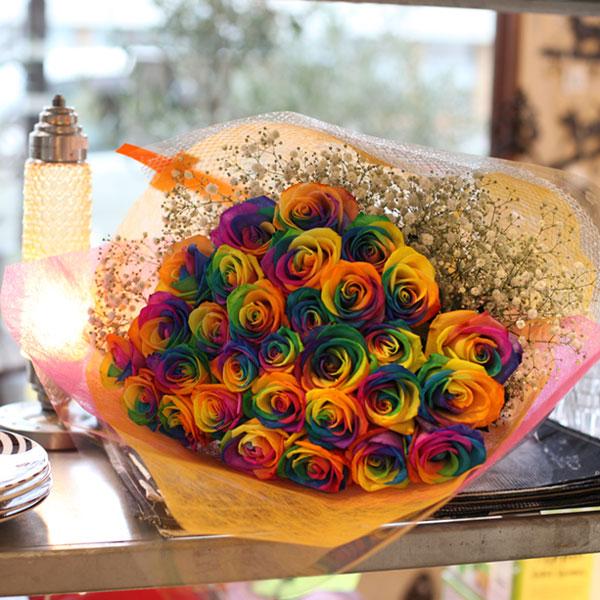 レインボーローズ 30本の花束