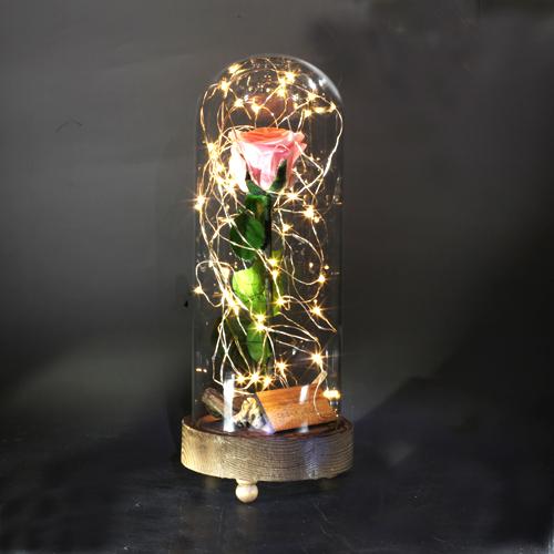 ピンクローズ プリザーブドフラワー 電飾LEDガラスドーム Tall