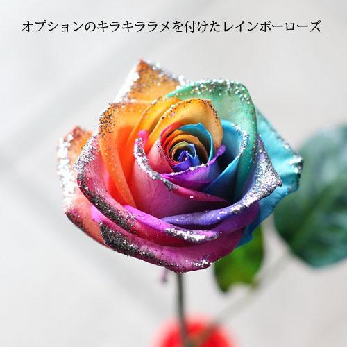 レインボーローズ30本とかすみ草のアレンジメント(キラキラローズ入り)