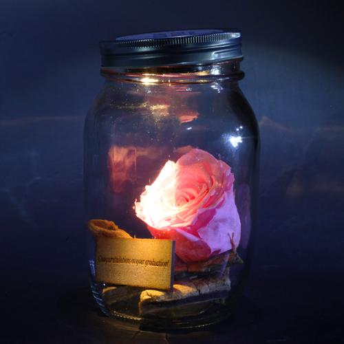 LEDライト付き バラ プリザーブドフラワー ライティングメイソンジャー