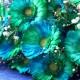 バイカラーガーベラ(グリーン×ブルー)30本とキラキラかすみ草の花束