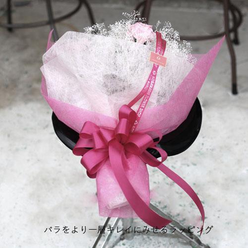 プリザーブドフラワー ピンクローズ5本とかすみ草の花束