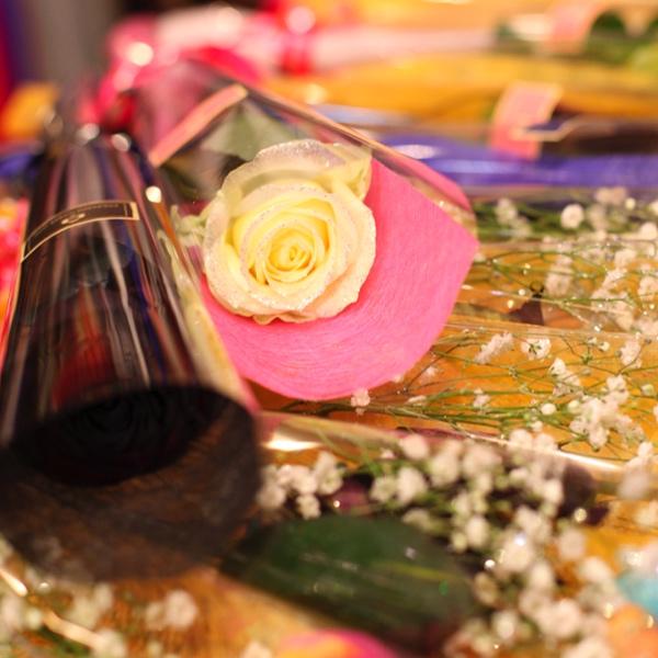 キラキラ白いバラ 1本ラッピング