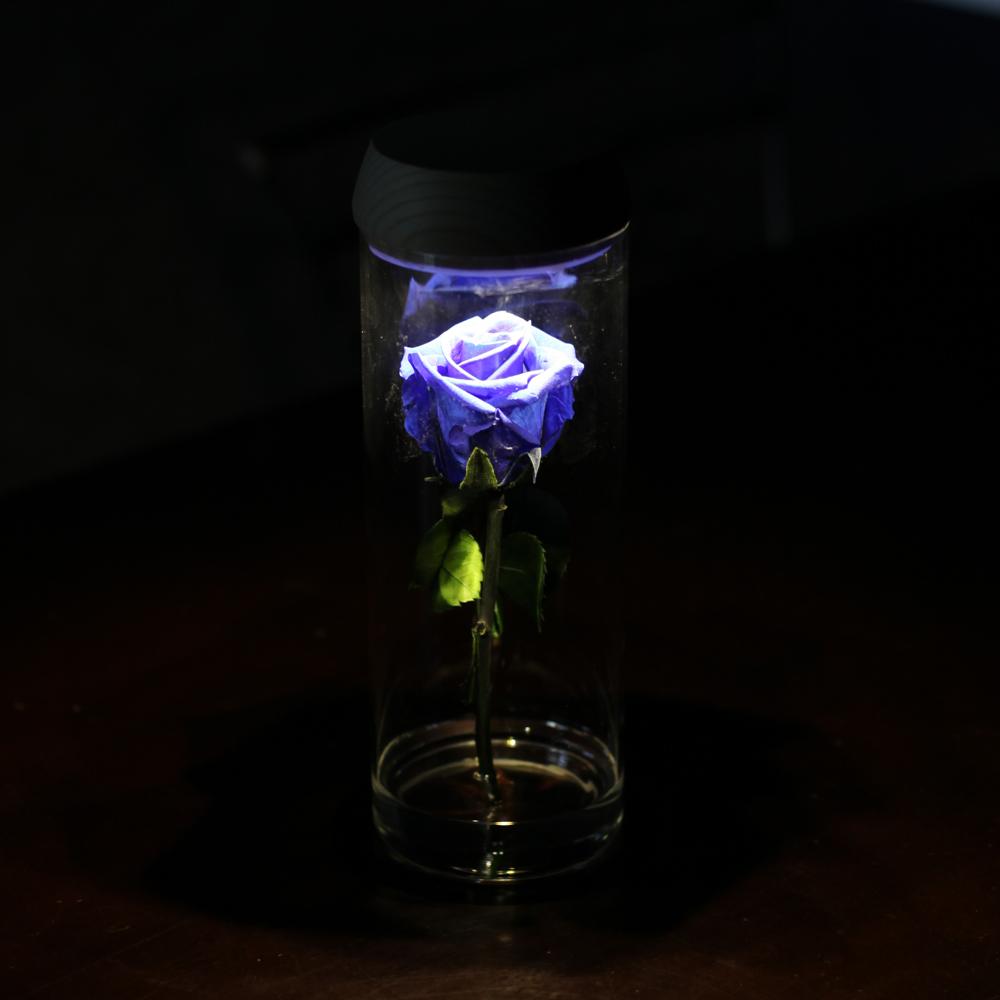 青いバラ プリザーブドフラワー LEDシリンダーグラス
