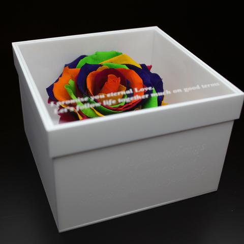 レインボローズ プリザーブドフラワー メッセージ白BOX