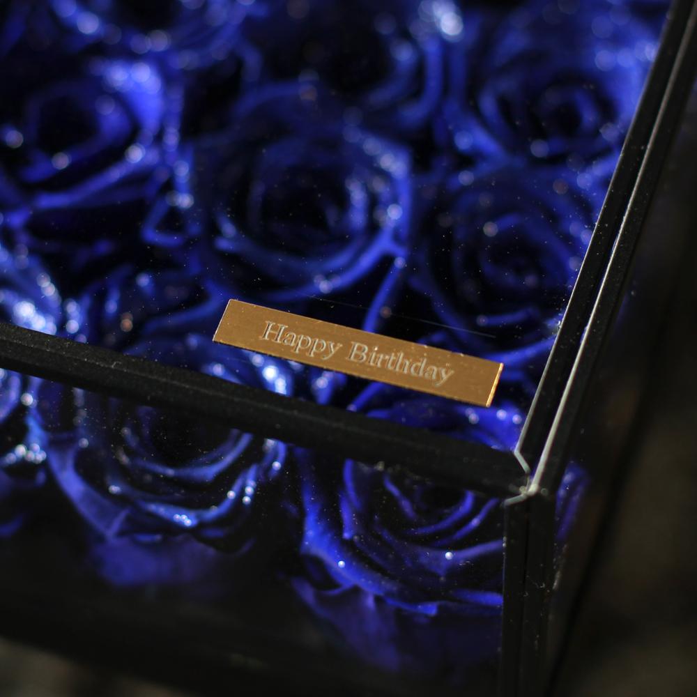 青いバラ プリザーブドフラワー ガラスBOX