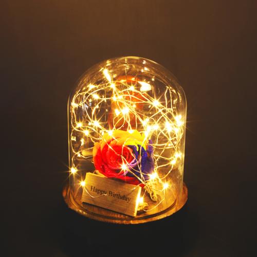レインボーローズ プリザーブドフラワー 電飾LEDガラスドーム Short