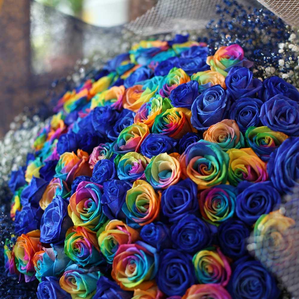 青いバラ50本レインボーローズ50本 合計100本の花束
