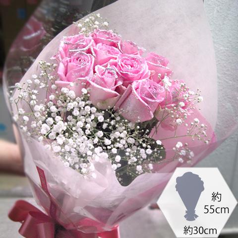 キラキラピンクローズ 10本の花束