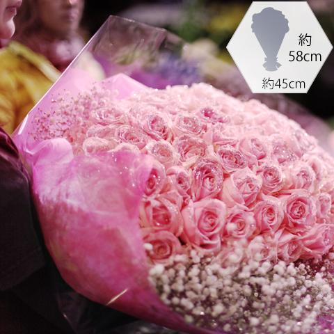 キラキラピンクローズ 50本の花束