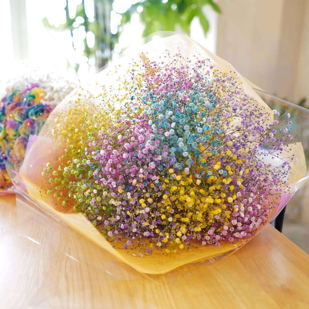 レインボーかすみ草の花束(Large)