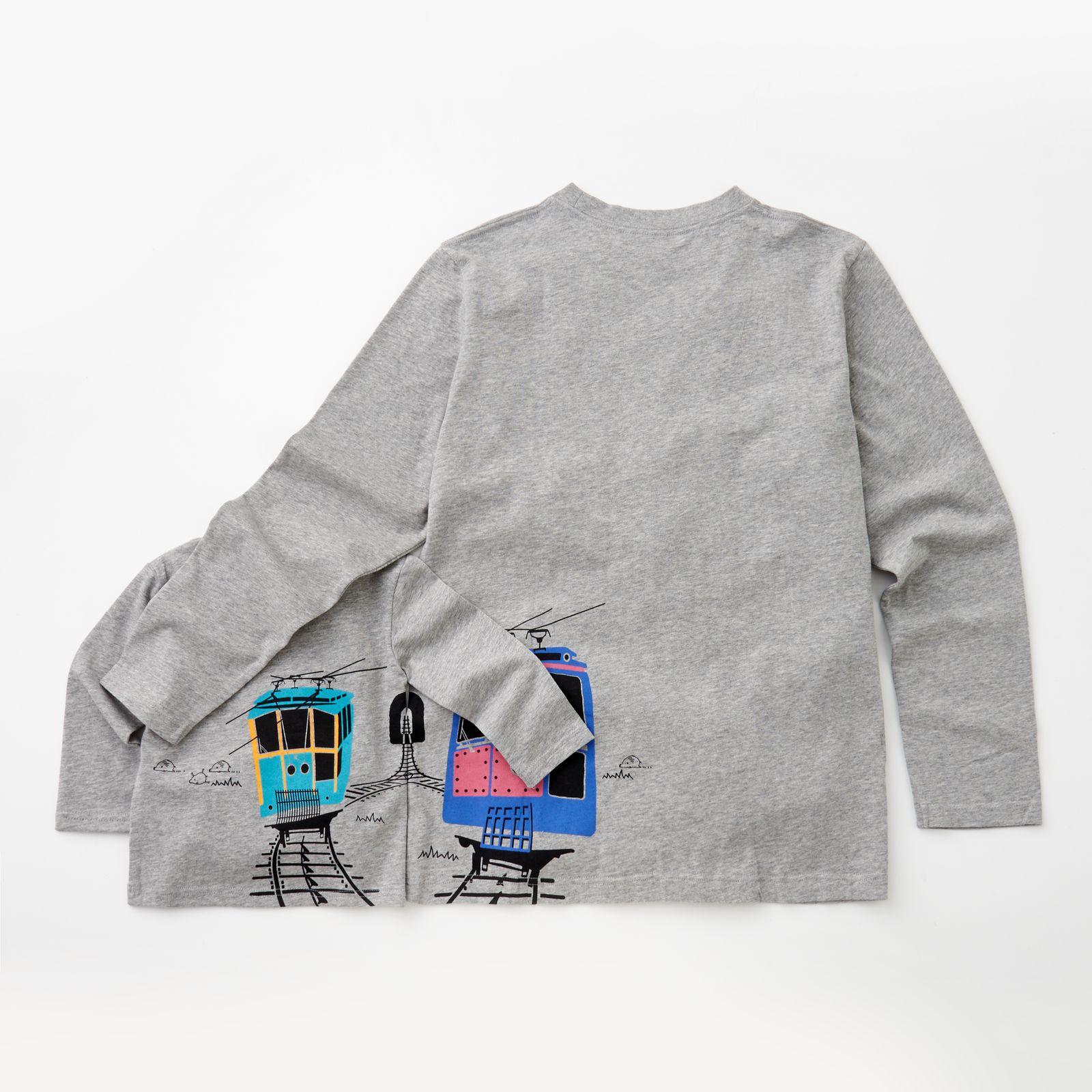 ウミキリンのつながる長袖Tシャツ 杢グレー(六甲ケーブルカー)