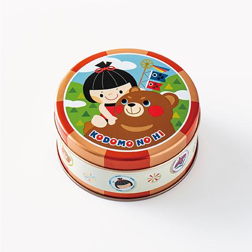 子供の日 ミニゴーフル レッド  −男の子とクマをデザインしたミニゴーフル