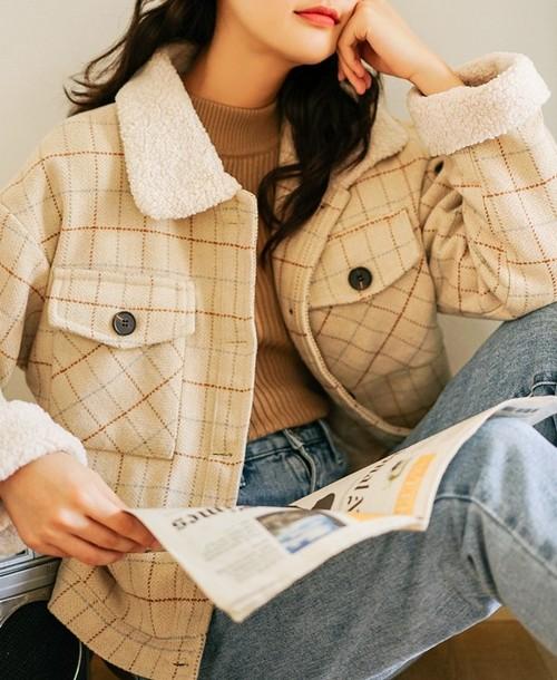 ウールコート ジャケット ショートコート レディース チェック柄 カジュアル 暖かい おしゃれ 防寒 防風 19alj102xyz
