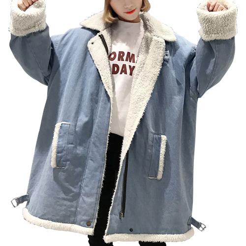 デニムジャケット ボアジャケット ボア カジュアル 秋冬 アウター レディース あたたかい もこもこ  ミディアム丈 19alj70xyz