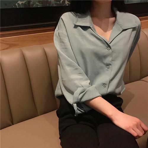 シャツ トップス くすみカラー 襟付き レディース シンプル きれいめ ブルー ピンク ホワイト フリーサイズ 20slt204xyz