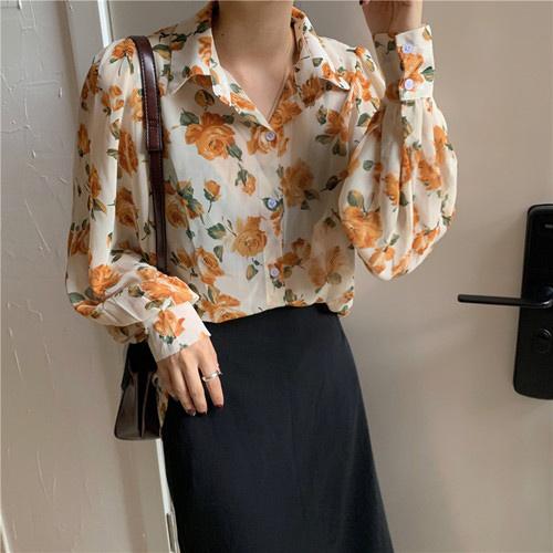 シャツ トップス オーバーサイズ 襟付き 花柄 レディース 春夏 かわいい きれいめ カジュアル ベージュ 20slt207xyz