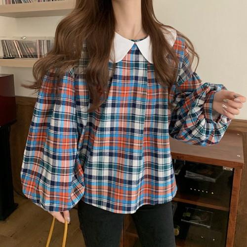 シャツ トップス オーバーサイズ 襟付き チェック レディース 春夏 かわいい カジュアル ブルー フリーサイズ 20slt209xyz