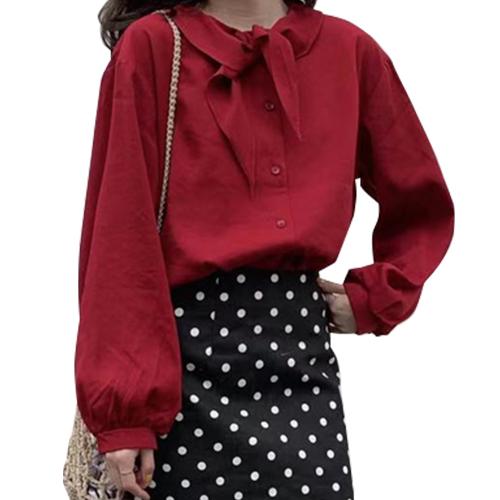 シャツ トップス 襟付き リボン シンプル きれいめ かわいい 上品 ベージュ レッド フリーサイズ 20slt128xyz