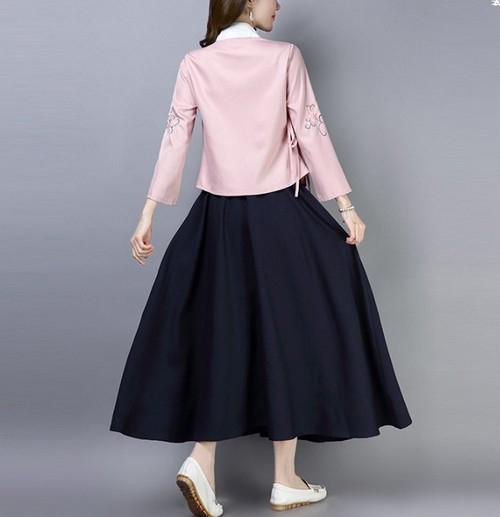 シャツスカートセット 民族風 刺繍 花柄 19alb151xyz