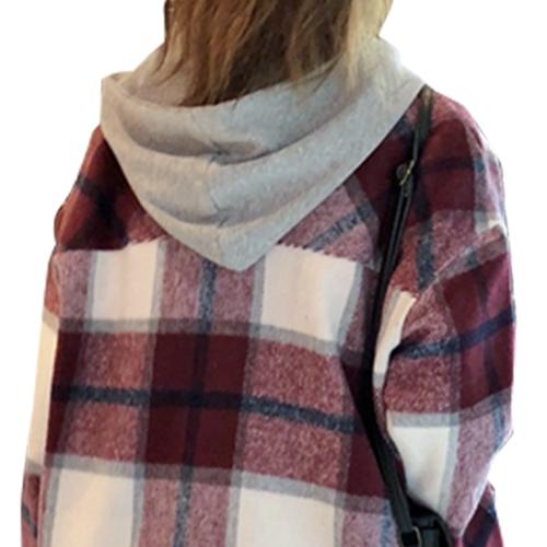 アウター フード付き コート レディース おしゃれ チェック ショート丈 秋冬 ジャケット 3カラー ワンサイズ 19alj01xyz
