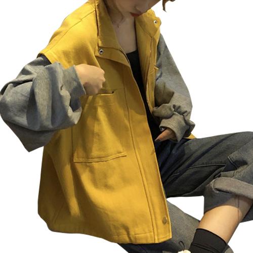 ジャケット レディース ざっくり オーバーサイズ スウェット カジュアル かわいい イエロー ブラック グリーン 20slj01xyz