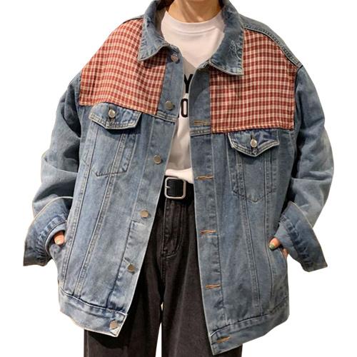 ジャケット デニム デニムジャケット パッチワーク レディース ざっくり オーバーサイズ カジュアル ブルー 20slj06xyz